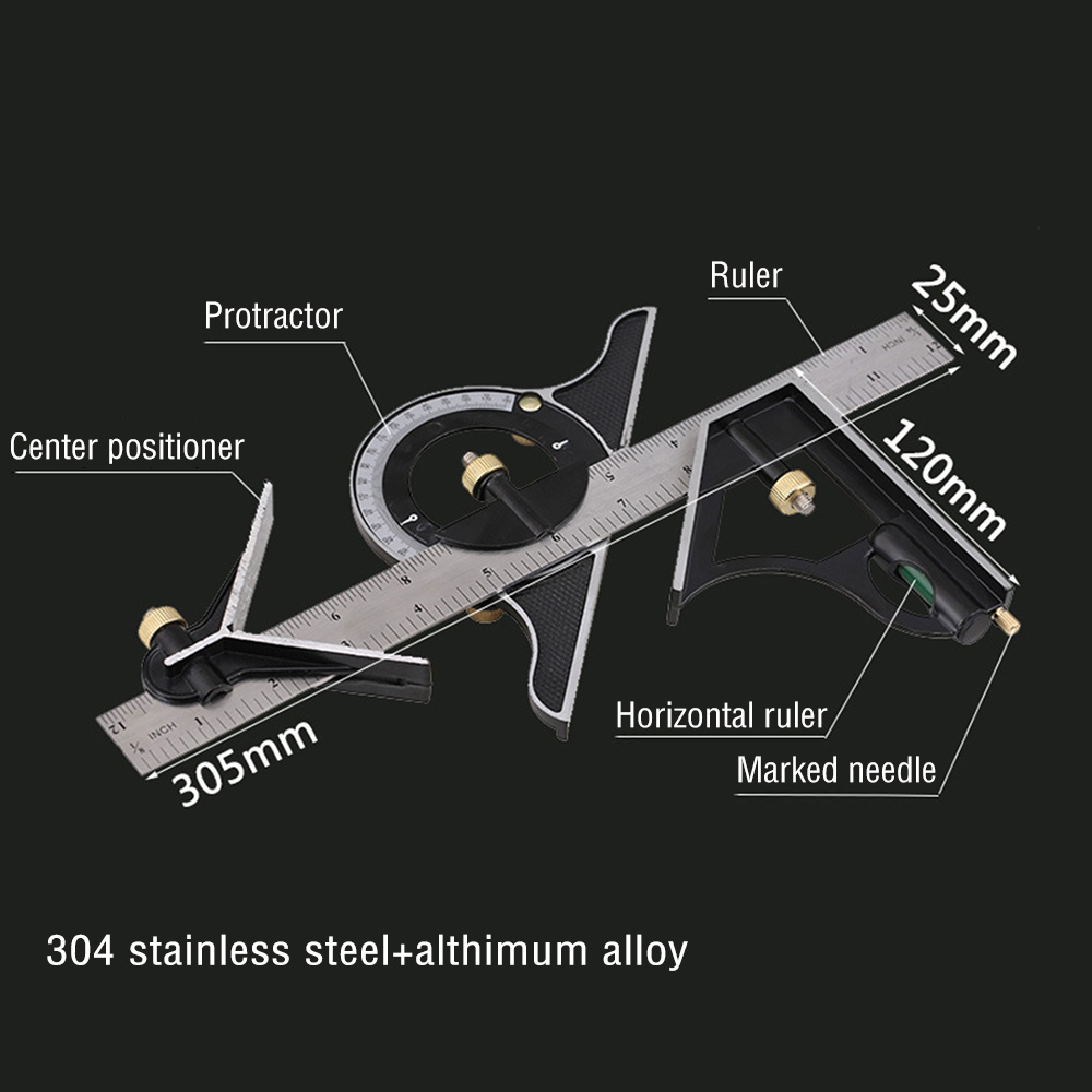 300mm 3in1 Stainless Steel Protractor Angle Finder Positioner Level Ruler