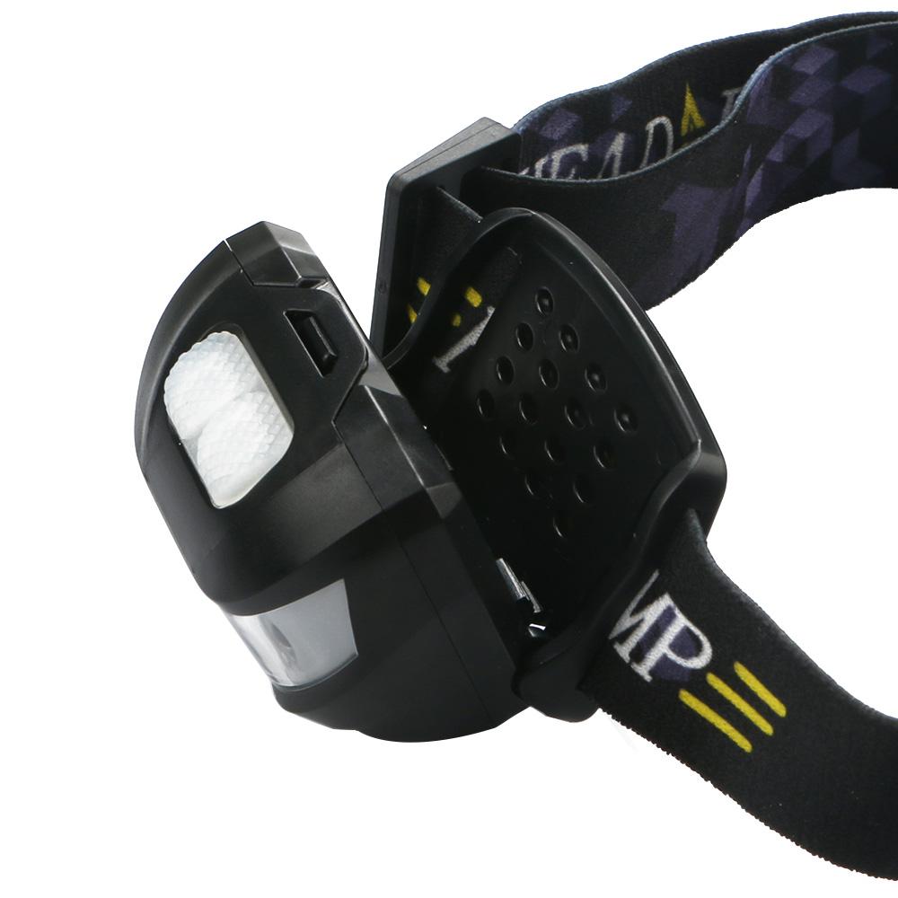 3000LM LED IR Sensor Headlamp USB Rechargeable Waterproof Camping Headlight