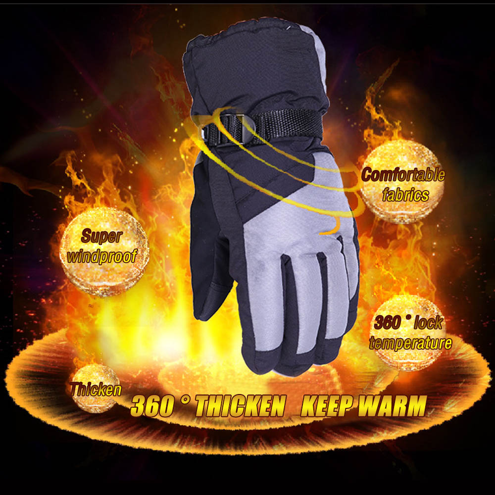 Men Winter Thicken Warm Waterproof Plush Motorcycle Ski Snowboard Gloves