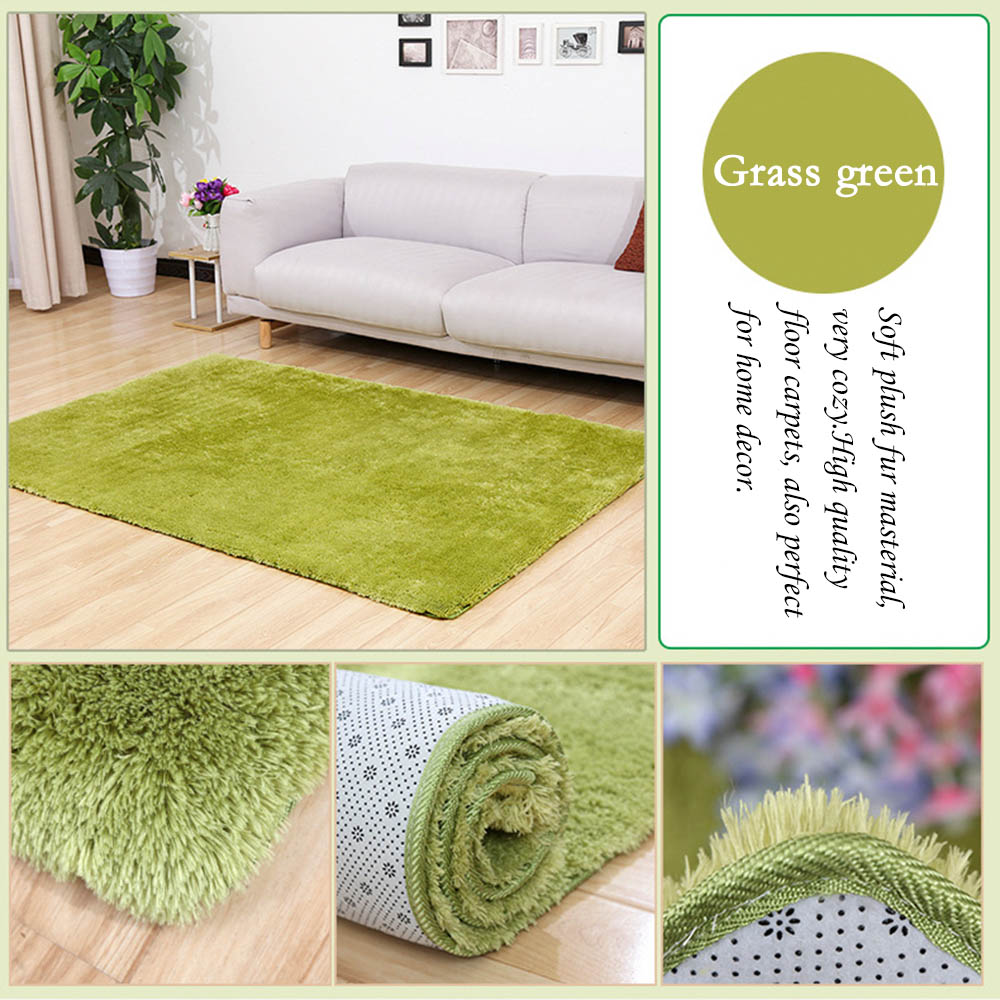 40x60cm Silk Wool Plush Carpet Rug Non-slip Floor Mat Living Room Blanket