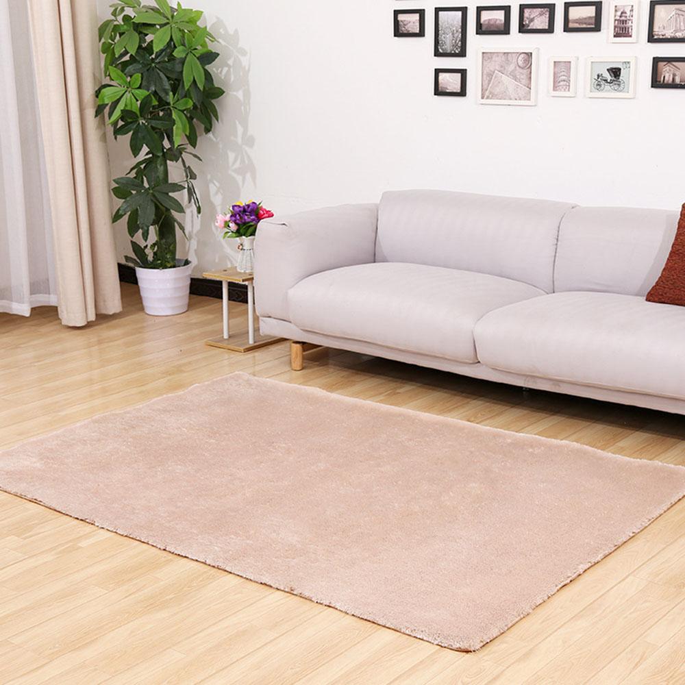 40x60cm SilkWool Plush CarpetRug Non-slip Floor Mat Living RoomBlanketBeige