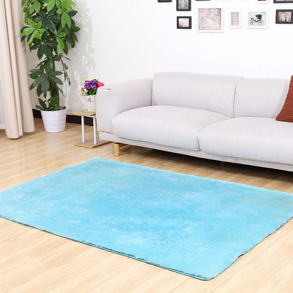 Silk Wool Plush Carpet Rug Non-slip Floor Mat Living Room Blanket Sky Blue