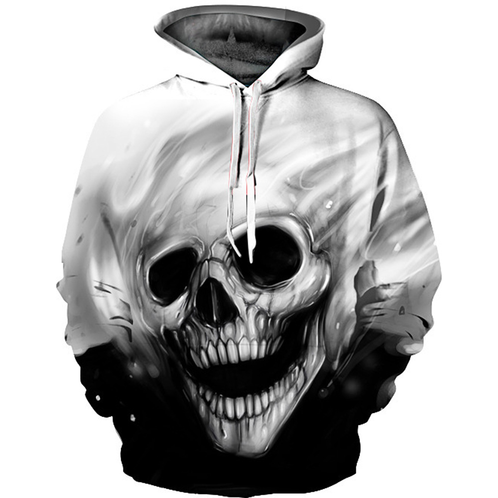 Unisex Cotton Halloween 3D Print Skull Head Hooded Couple Sweatshirt