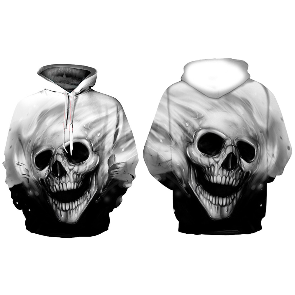 Unisex Cotton Halloween 3D Print Skull Head Hooded Couple Sweat shirt Hoodies