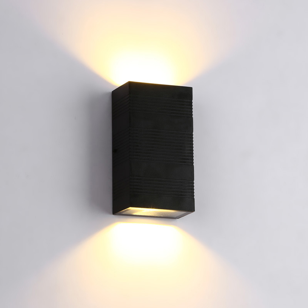 Led Light Enclosed Fixture: Modern LED Wall Light Up Down Cube Indoor Outdoor Sconce