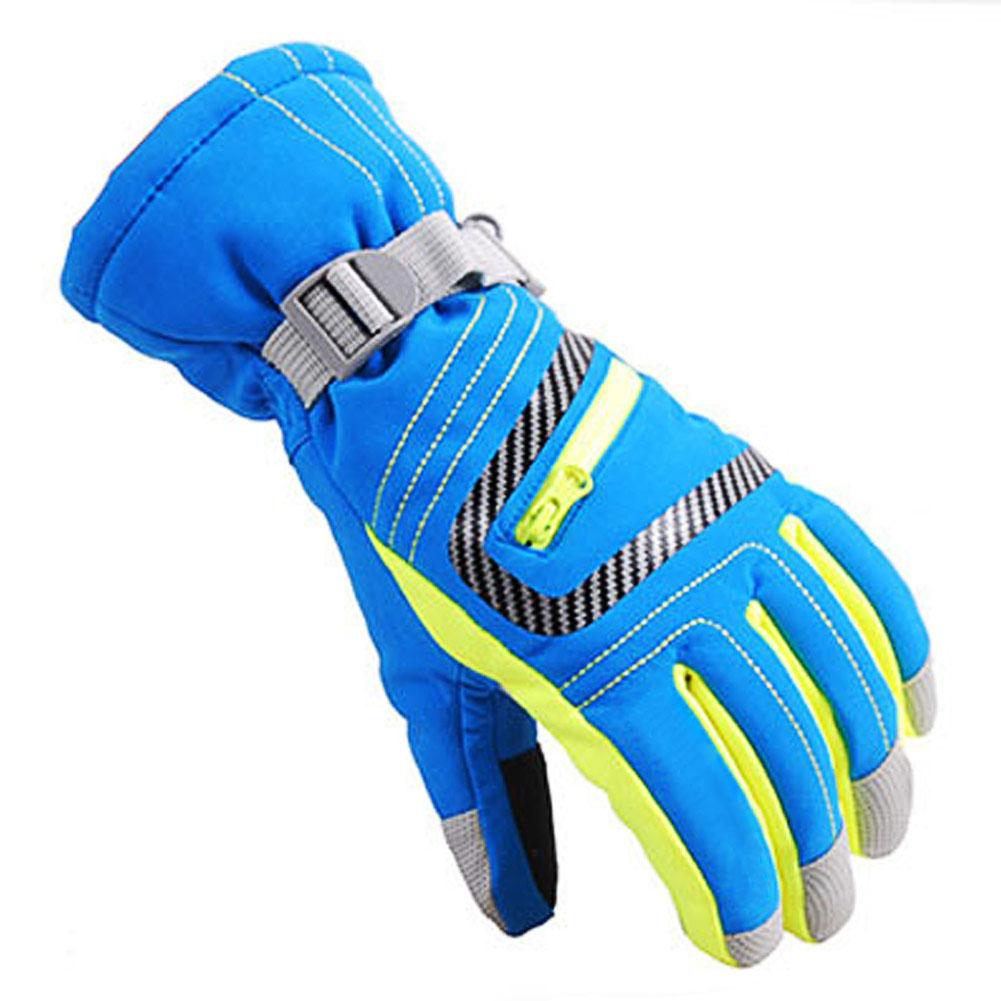WinterWarm Waterproof SkiSnowboard Kids ChildrenParent FingerGloves L Blue