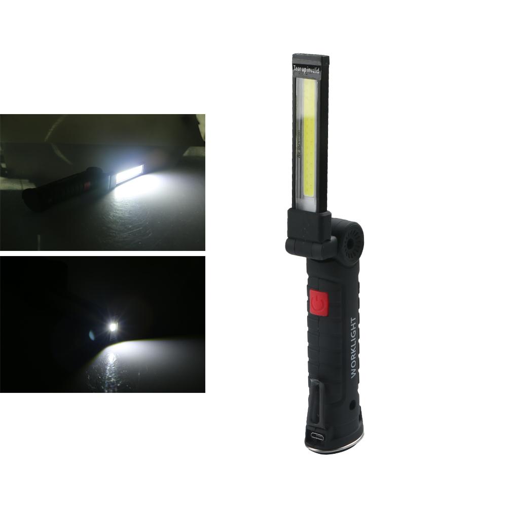 Wholesale 11x3.6cm Foldable USB Rechargeable LED COB Work Light Hook Lamp Flashlight