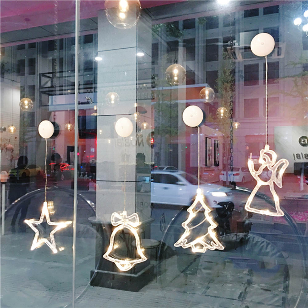 8Led Christmas Star Light Glass Window Sucker Lamp Holiday Party Decor