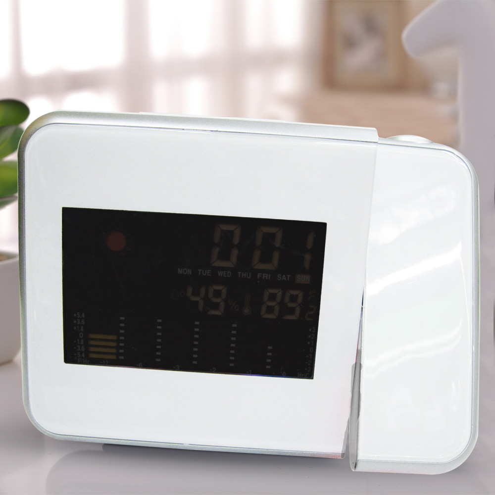 Multifunction Digital Lcd Alarm Clock Projector Desk Thermometer And Hygrometer With