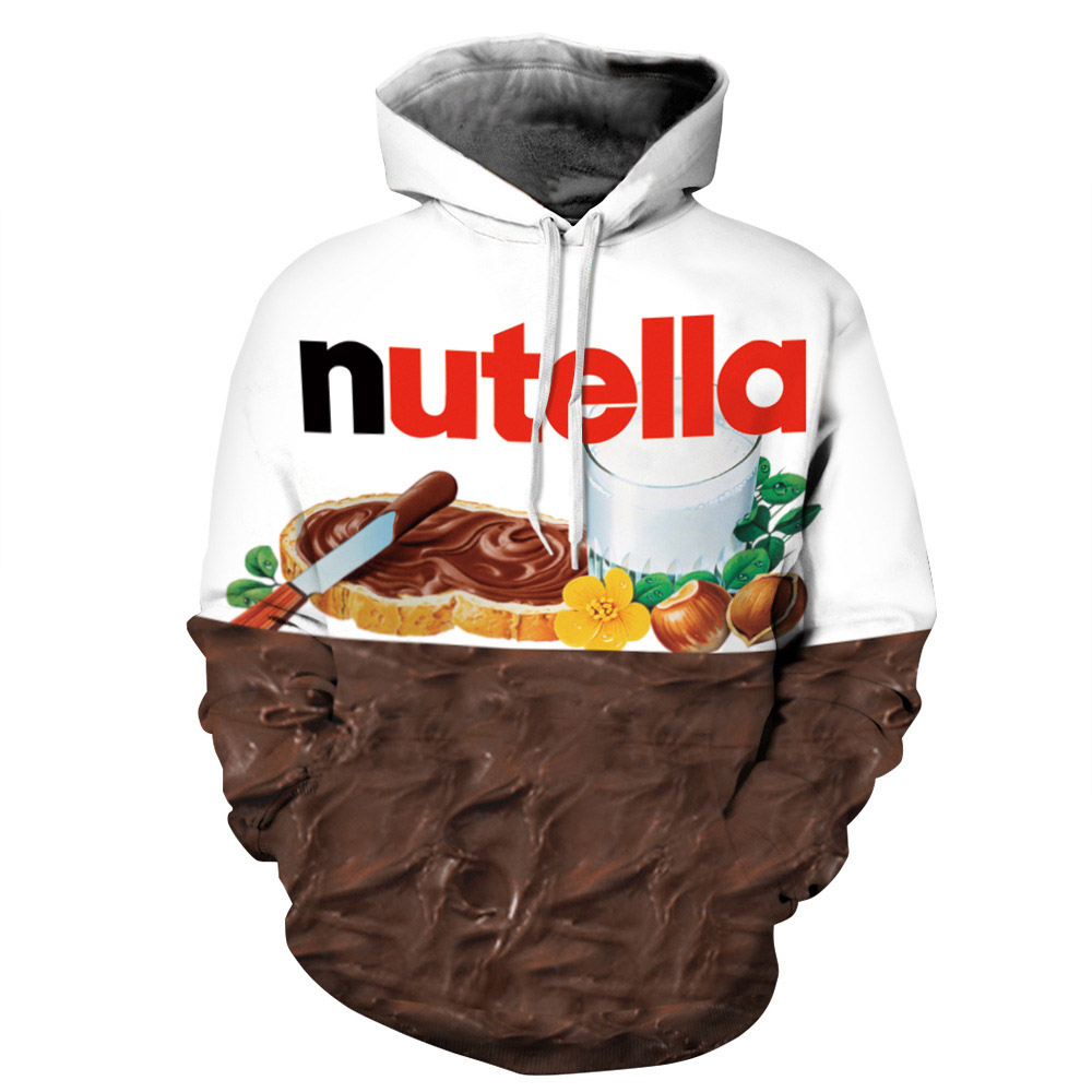 Unisex 3D Print Nutella Chocolate Hooded Couple Sweatshirt Tracksuit