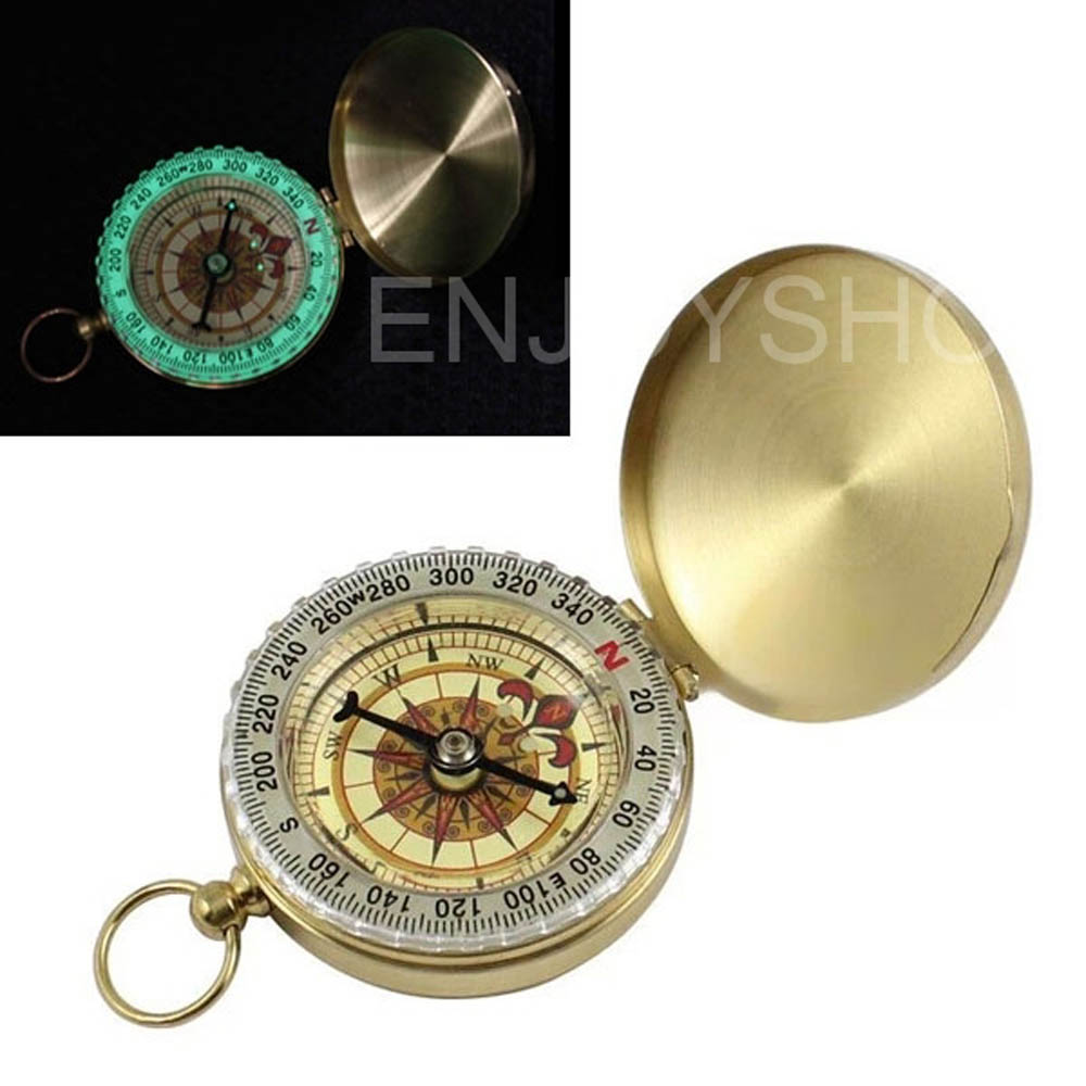 Refined Copper Compass for Camping Hiking Outdoor Actions with Night-light