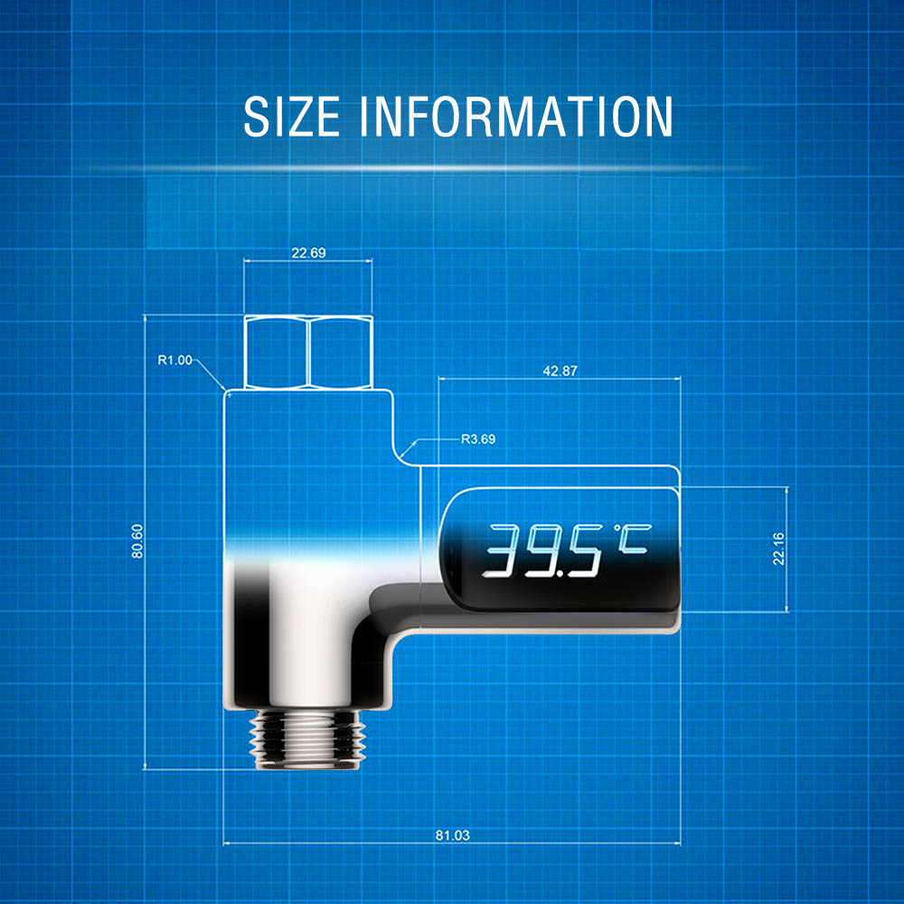 LED Digital Water Temperature Monitor Shower Flow Baby Bath Water ...