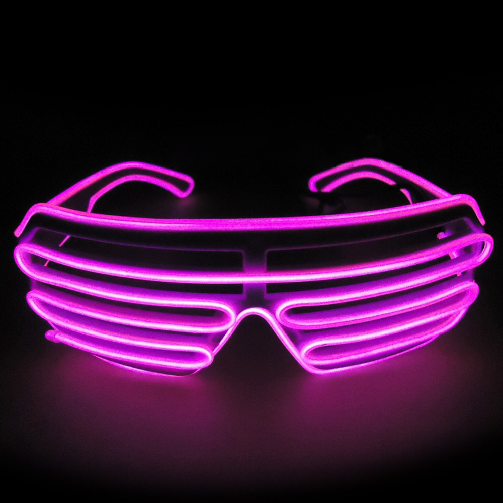 El Wire Fashion Neon LED Light Up Shutter Shaped Glasses Rave Costume Party