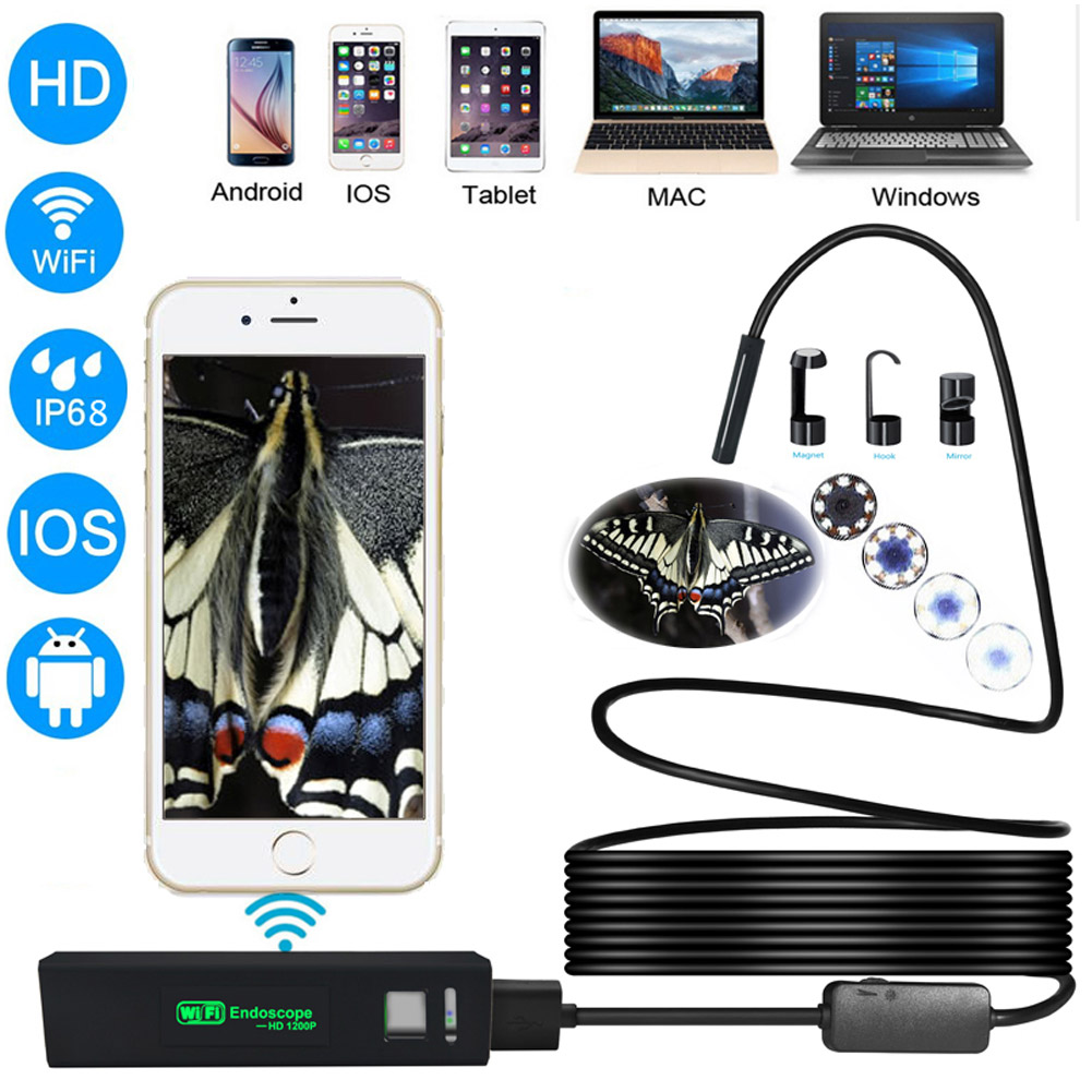 5M Endoscope 1200P HD Waterproof Camera Wifi Borescope for Android IOS PC