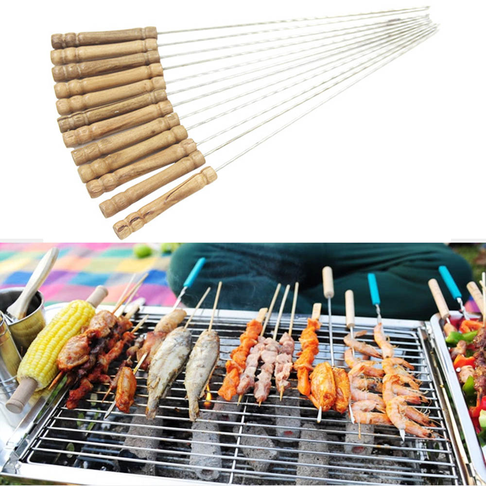 BBQ BARBECUE STICKS SET OF 12 METAL SKEWERS KEBAB WOODEN HANDLES OUTDOOR GRILL