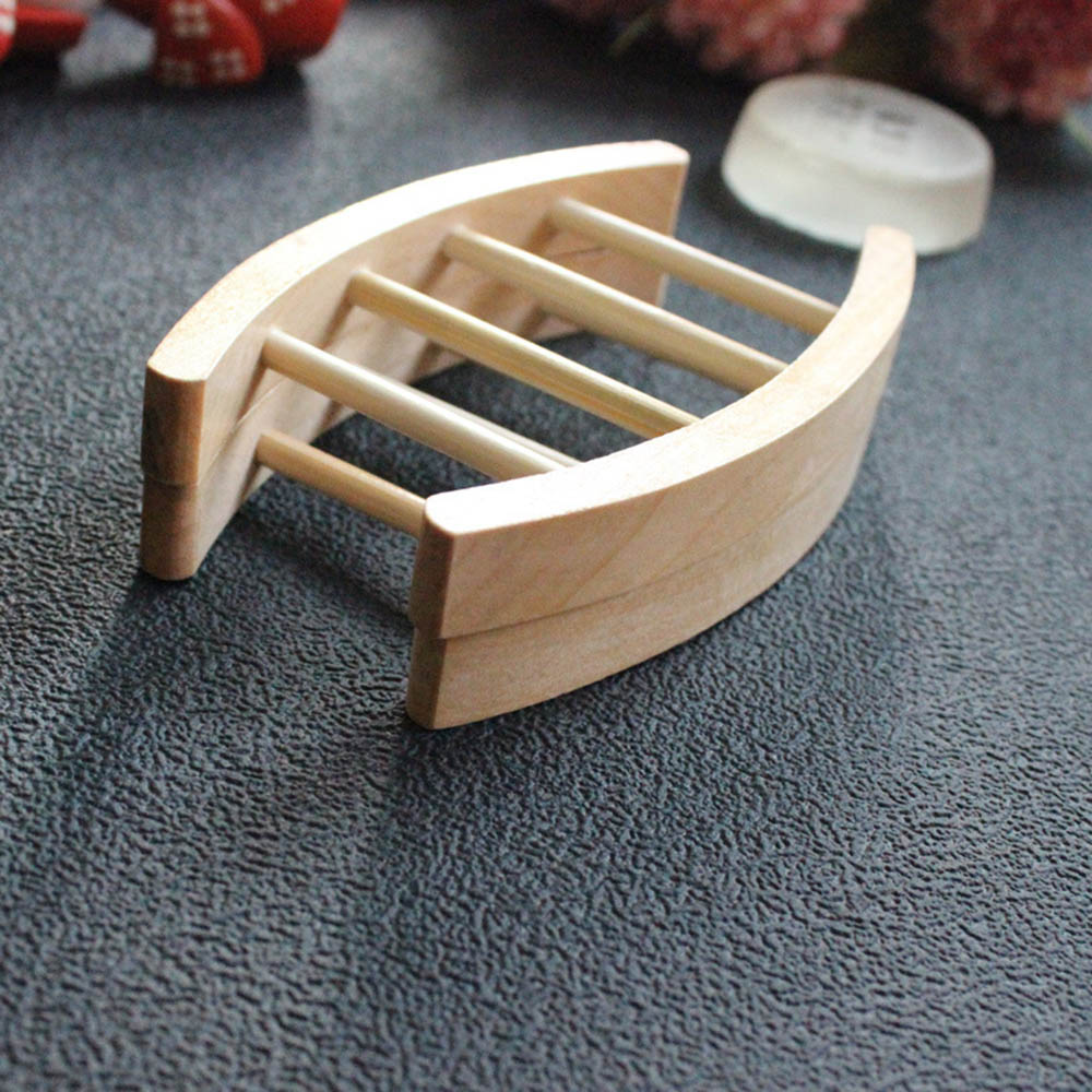 Wooden Arc-shaped Soap Box Saver Holder Tray Bathroom Shower Sink Drainer