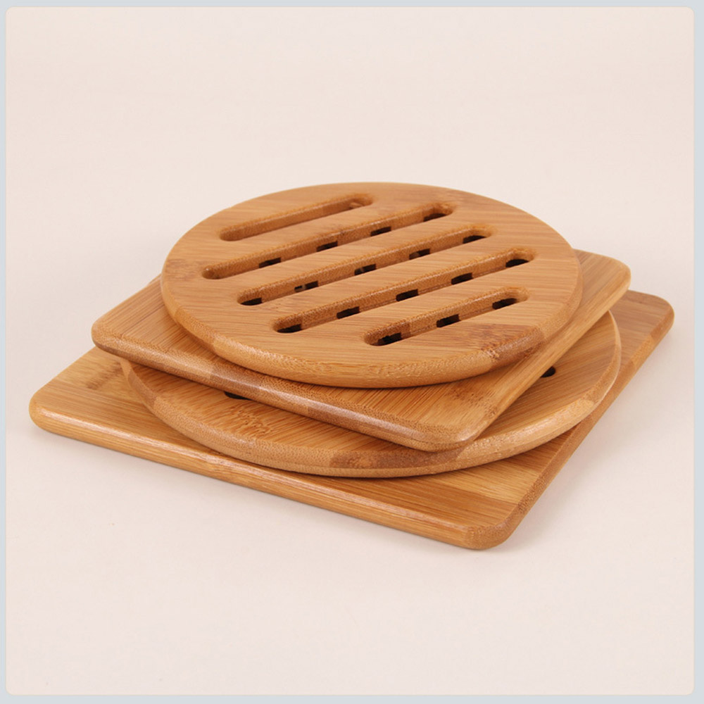 4pc/Set Bamboo Heat-resistant Non-slip Hot Pot Pad Teapot Trivet Holder