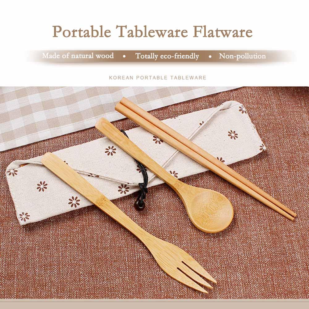 Portable Wooden SpoonFork Chopsticks Set Tableware Flatware Utensil W/Pouch