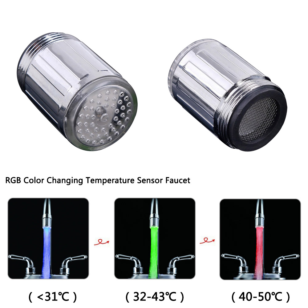 Multicolor Changing LED Light Water Faucet Temperature Sensor Water Tap