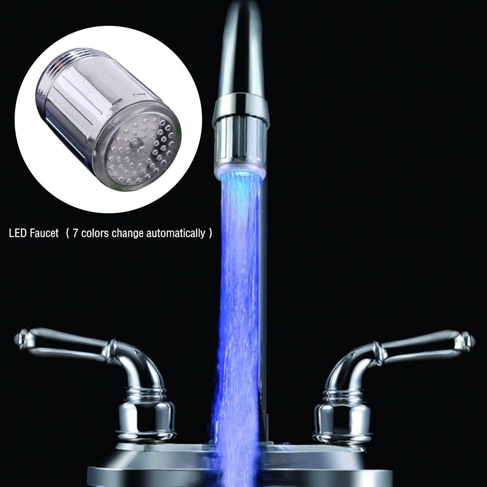 7Color Faucet Nozzle Changing Glow Light-up LED Shower Tap Faucet ...