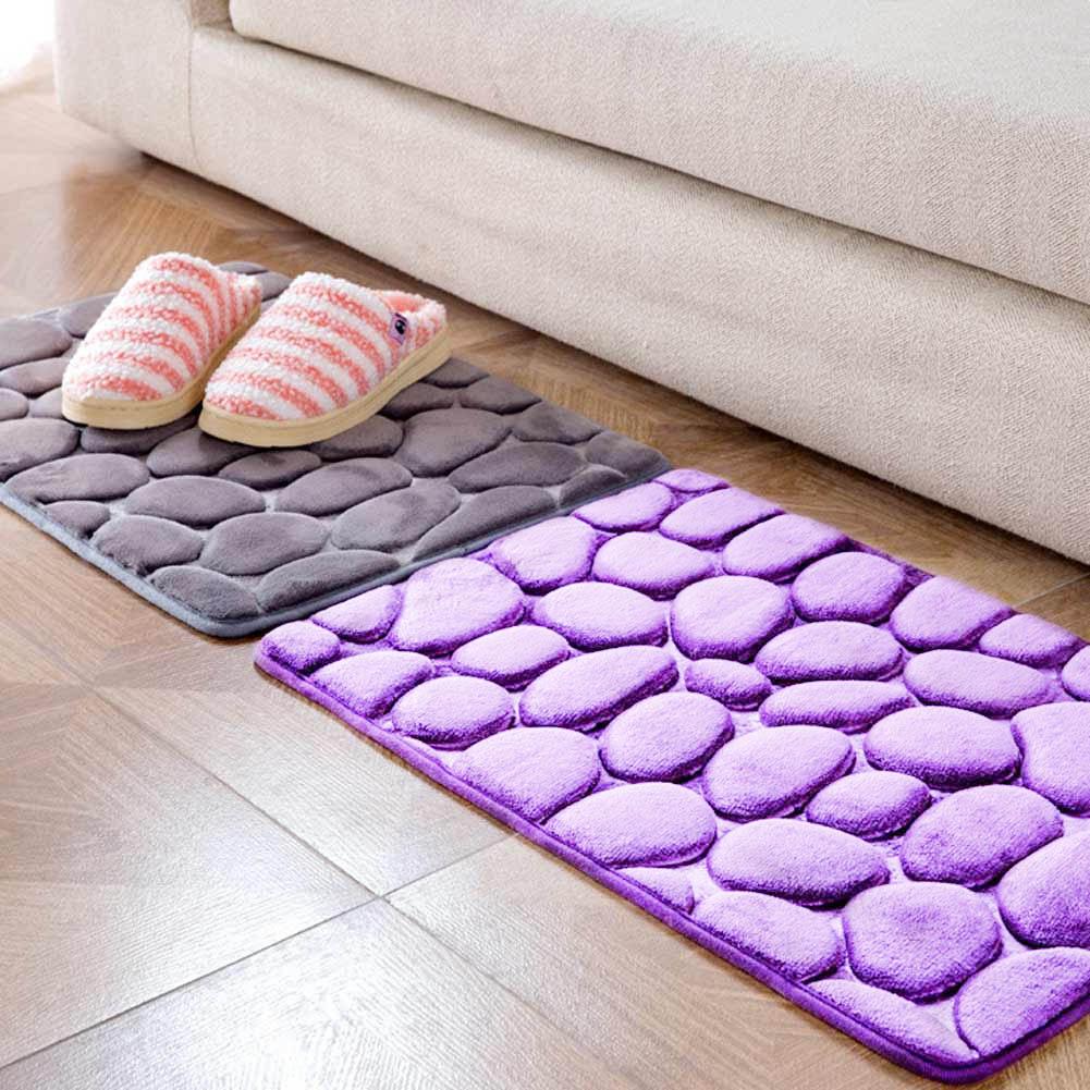 Classic Absorbent Non-slip Cobblestone Rug Bathroom Mat Doormat Carpet