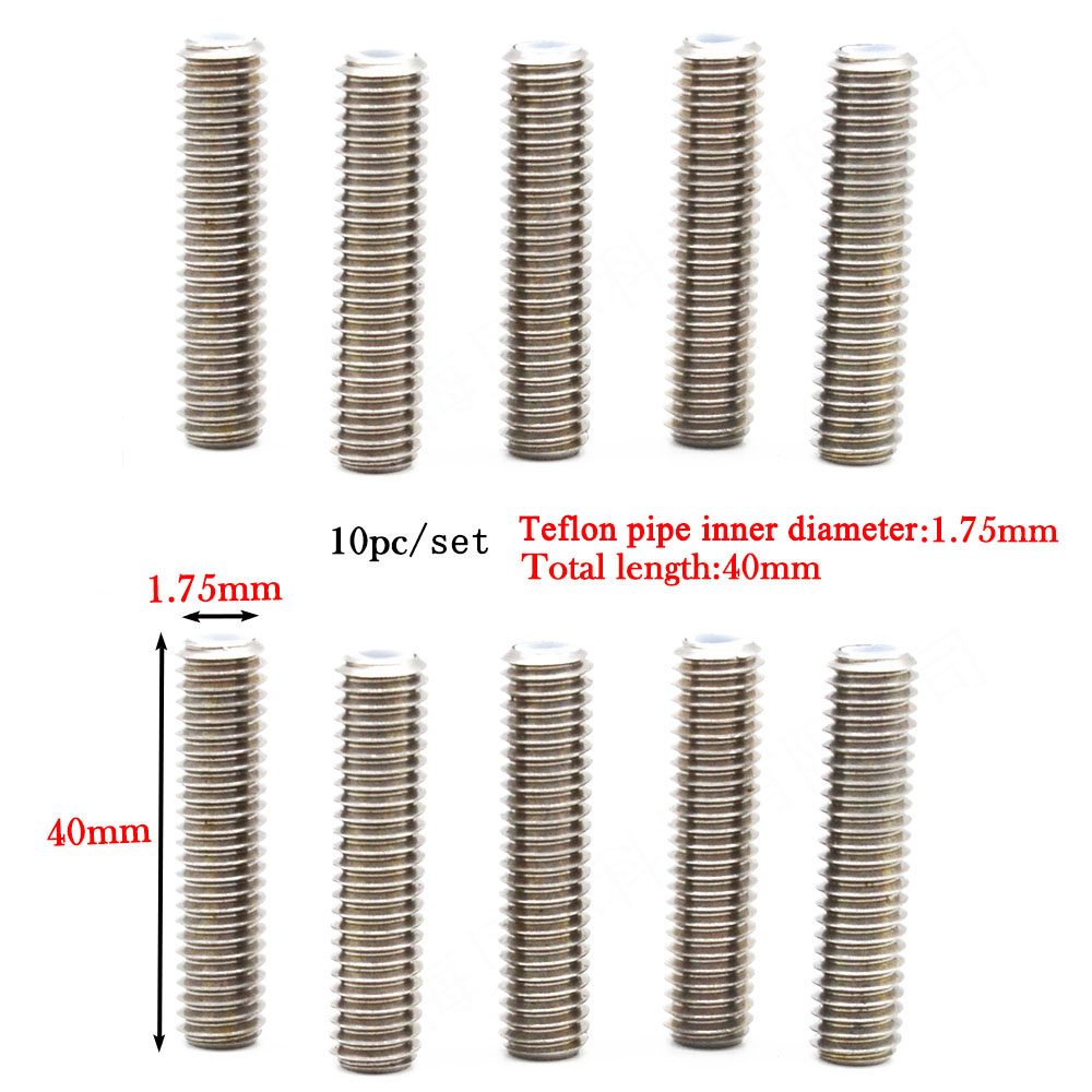 10pc M6 Stainless Steel Nozzle Throat Tube for 3D Printer Extruder W/Teflon