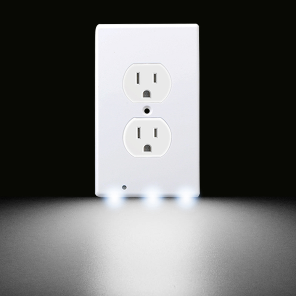 2in1 White Light Sensor Outlet Coverplate W/LED Nightlight Lamp Wall Plug