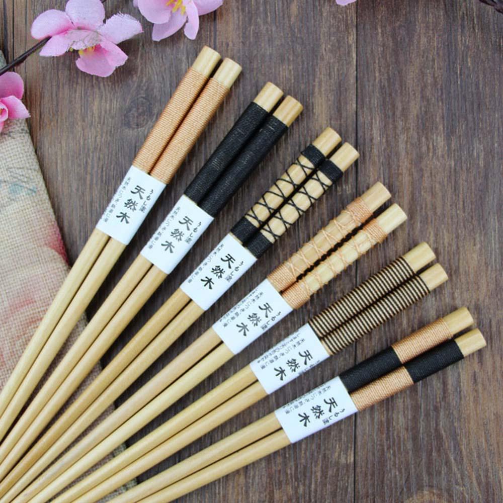 6Pair Wind Wooden Eco-friendly Reusable ChopsticksTableware FlatwareUtensil