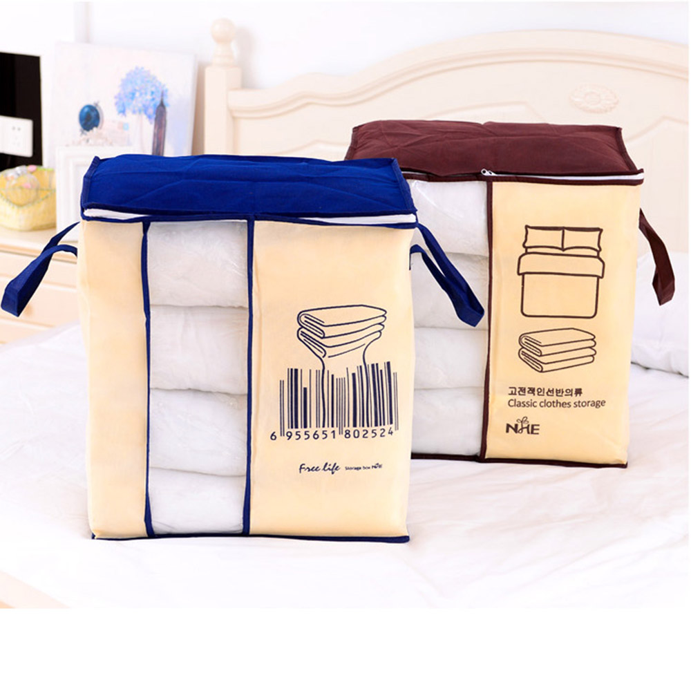 Portable Clothes Pillow Quilt Storage Bag Organizer W/Transparent Window