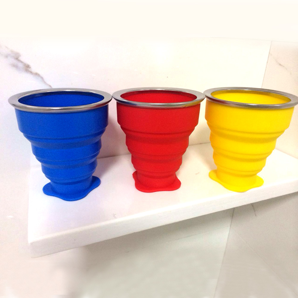 Portable Silicone Tumblerful TelescopicCollapsible Travel Camping Cup W/Lid