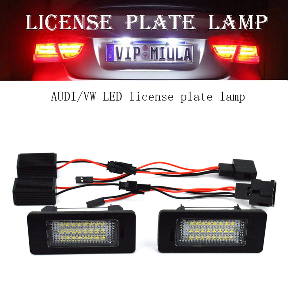 2pc 18LED Bright White License Plate Light Lamp Set W/Decoder for Audi A7