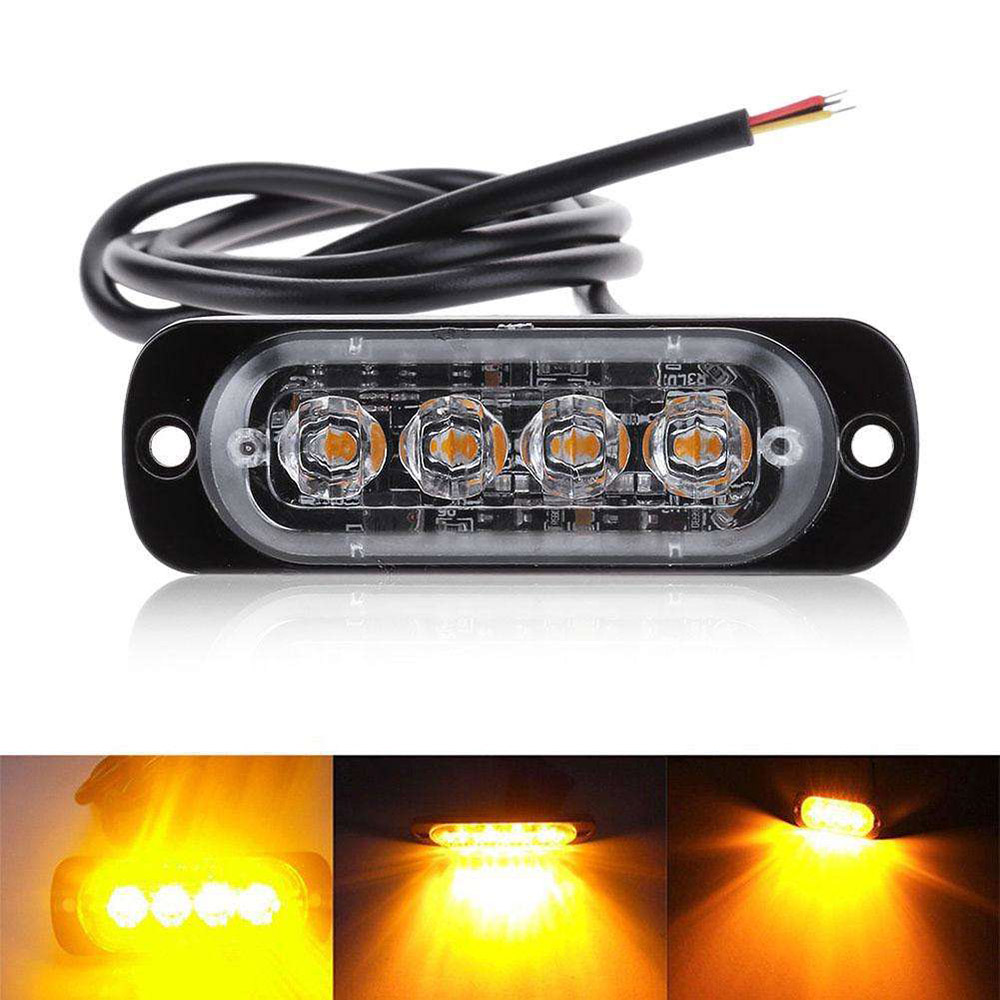 12V-24V Amber 4LED 12W Car Truck Strobe Flash Emergency Warning Bar Light
