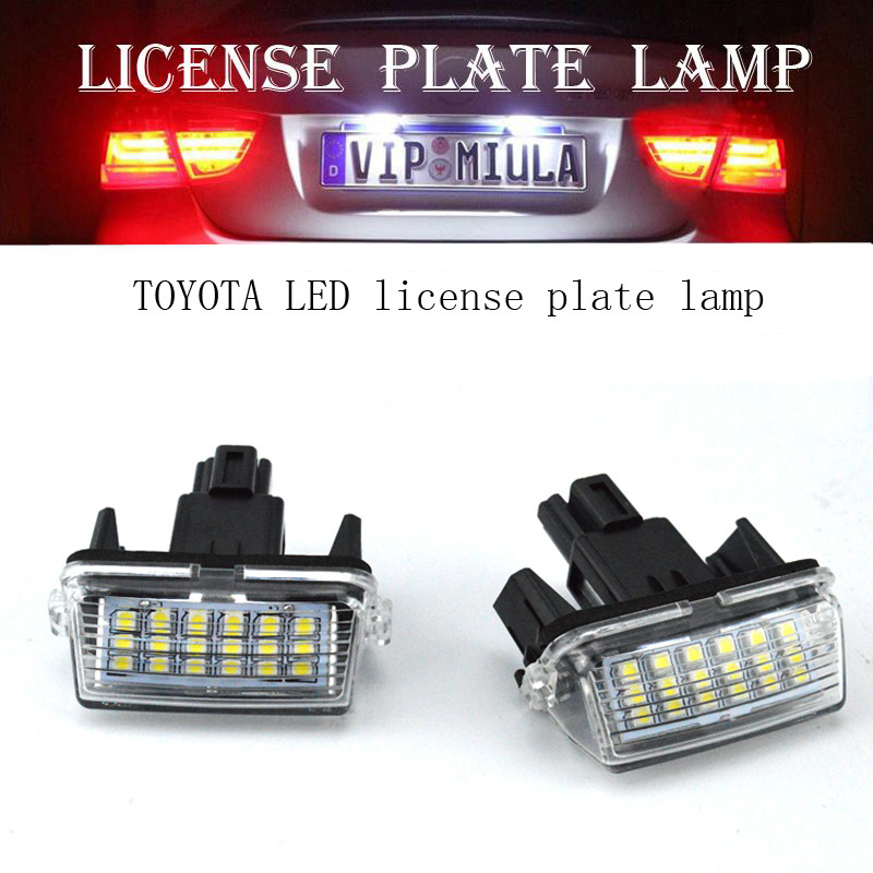 2pc 18LED Bright White License Plate Light Lamp for Toyota Camry 2012-16