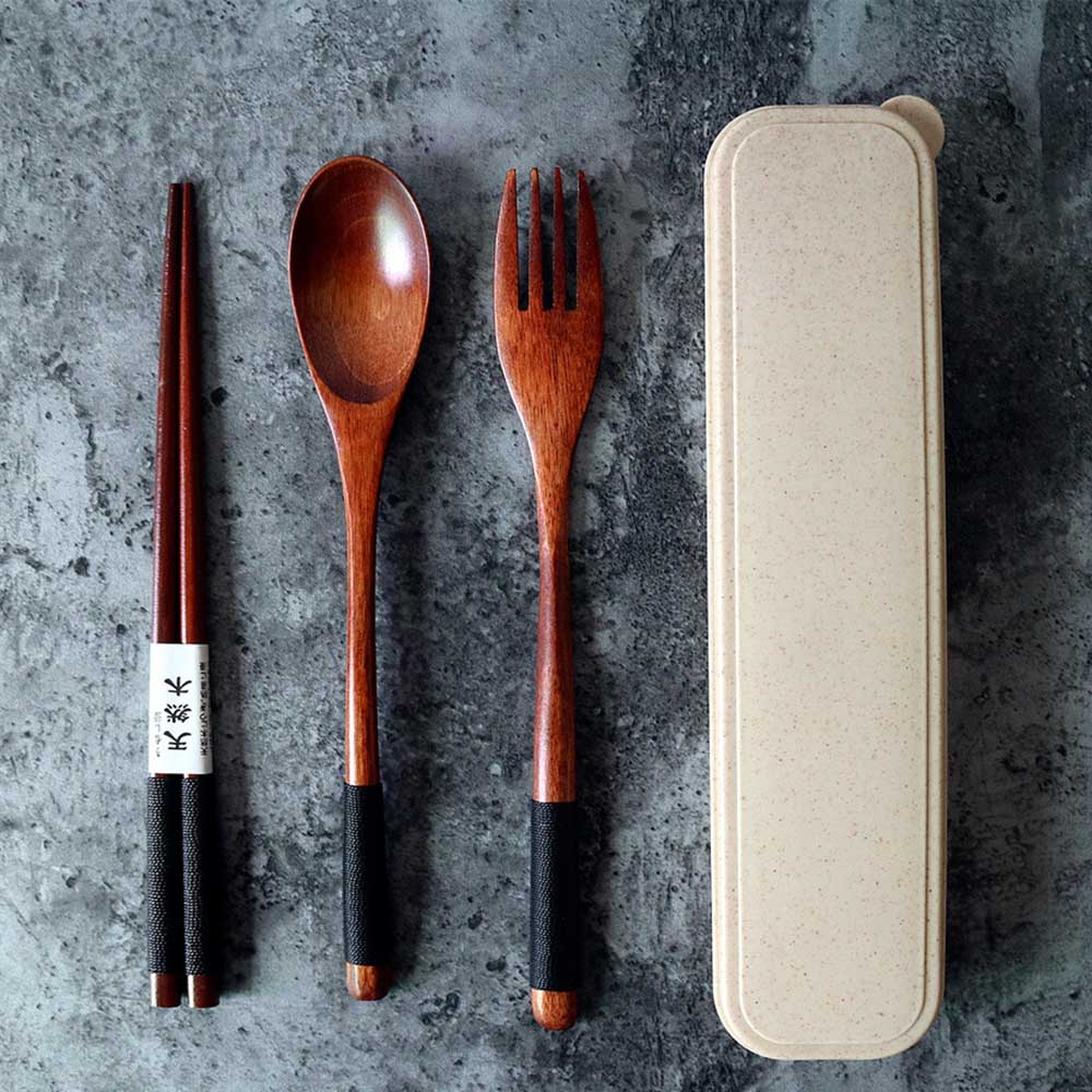 Portable Wooden ReusableFork Spoon Chopsticks Flatware Tableware Set W/Case