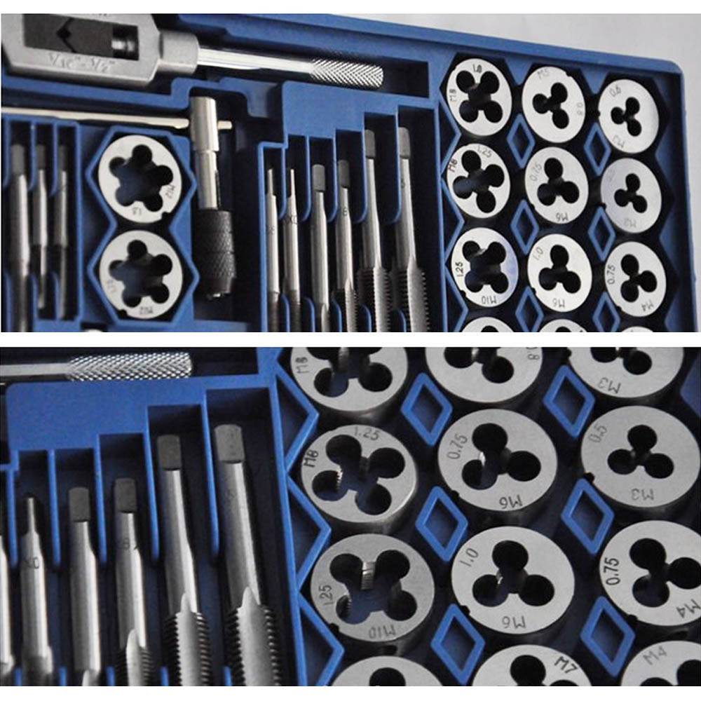 40pc/Set Metric Tap Die Kit M3-M12 Nut Bolt Alloy Metal Wrench Hand Tool