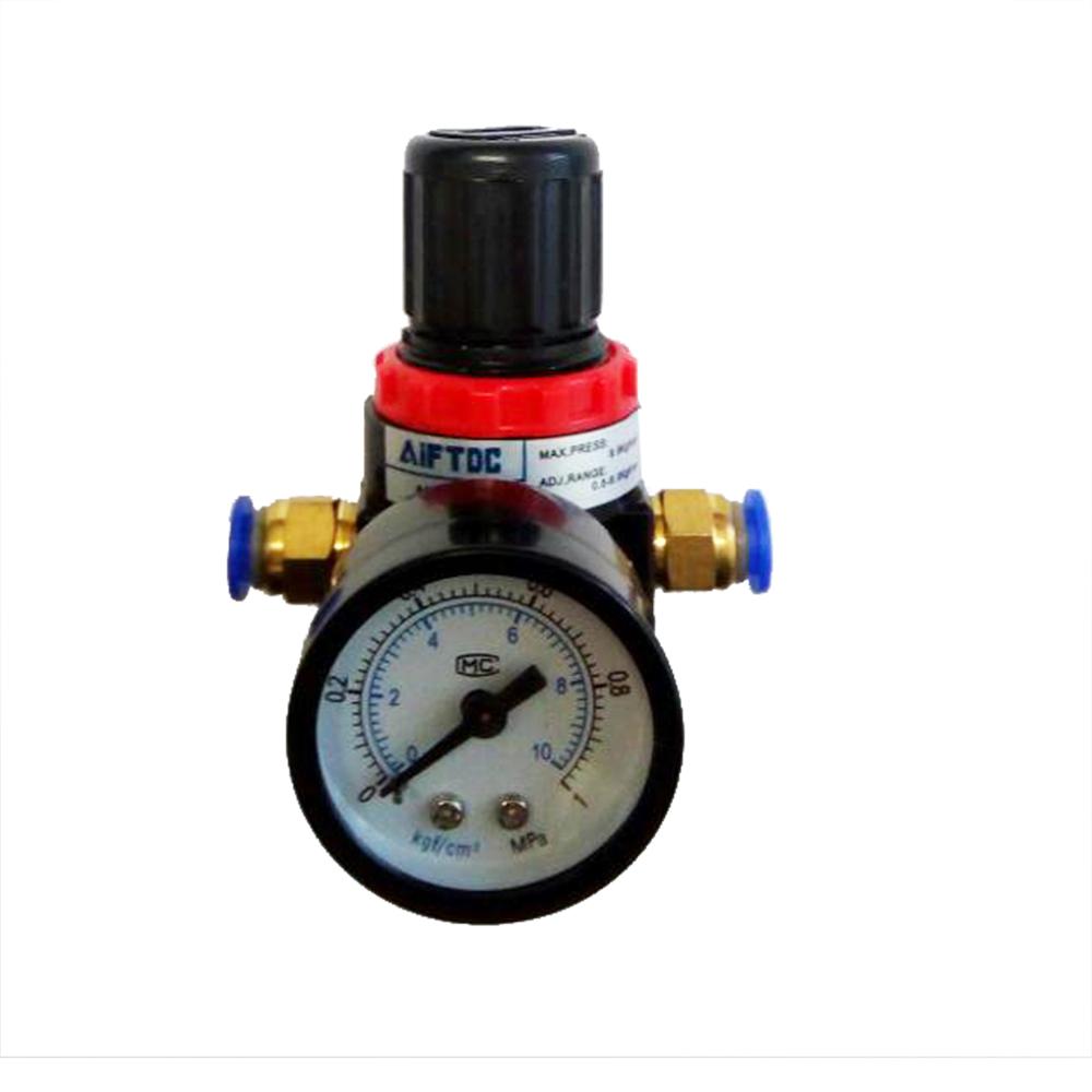 1 4inch,Black Pneumatic Air Control Compressor Pressure Gauge Regulator