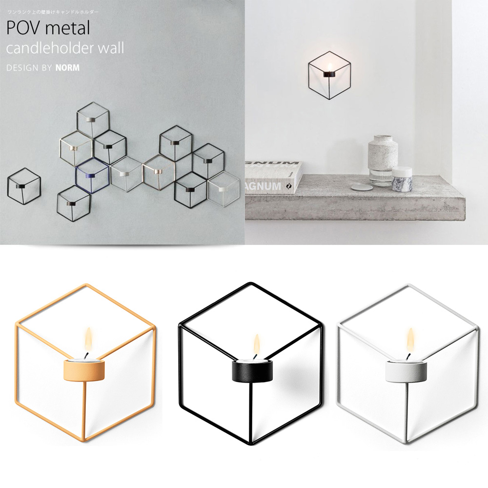 3d geometric candlestick metal wall candle holder sconce for Kitchen colors with white cabinets with candle holder ebay