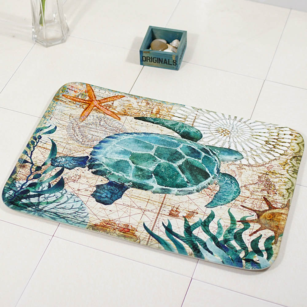 Funnel Bath Bathroom Waterproof Anti-slip Floor Carpet Mat OceanSea PadRug