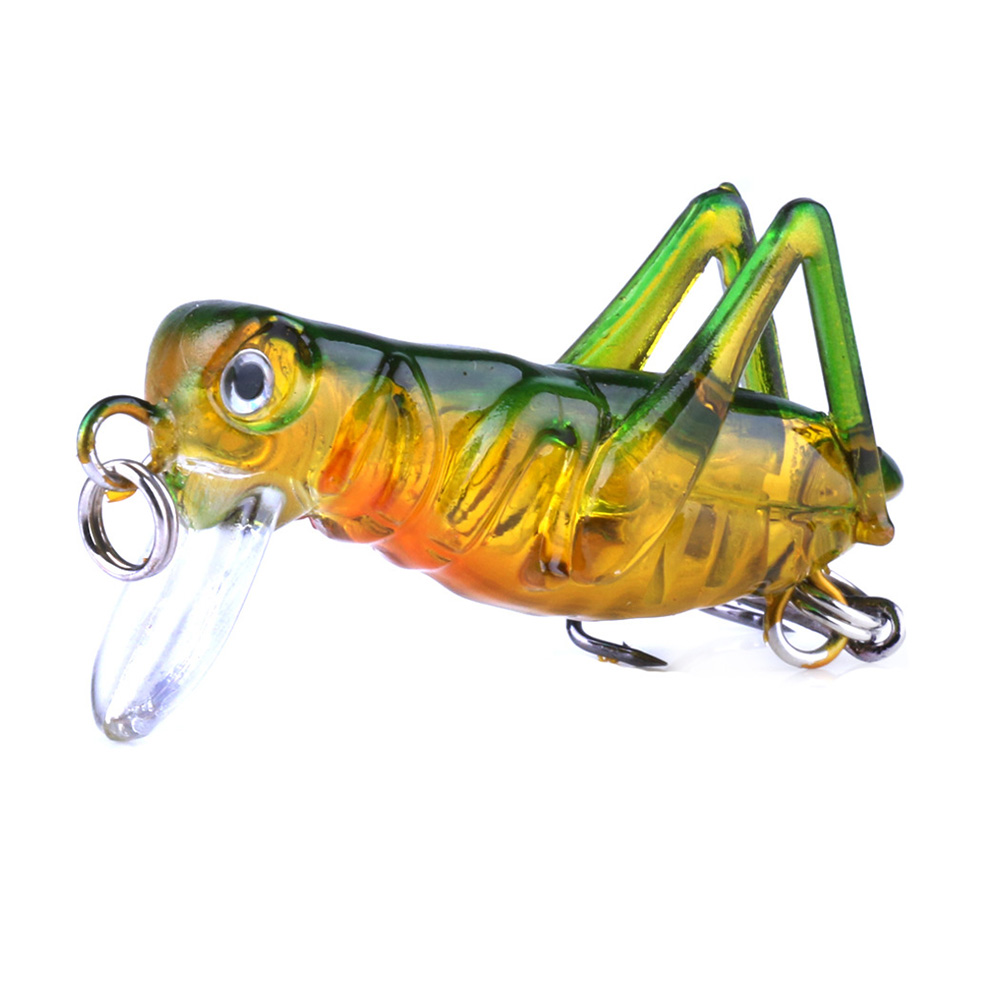 Grasshopper insects Fishing Lure Hard Plastic Locust Flying Wobbler Bait OK