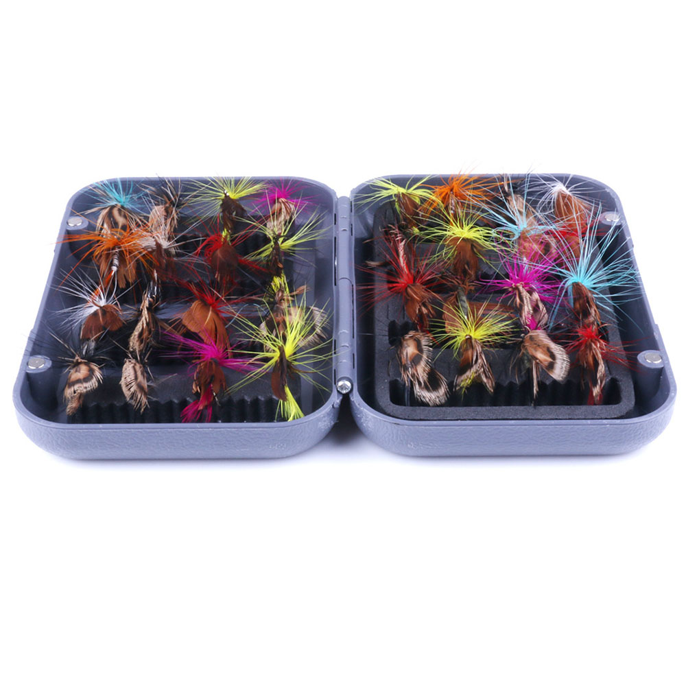 32pc/Set Bionic Fly FishingLure Insect Butterfly Flying Bait Hook W/Case