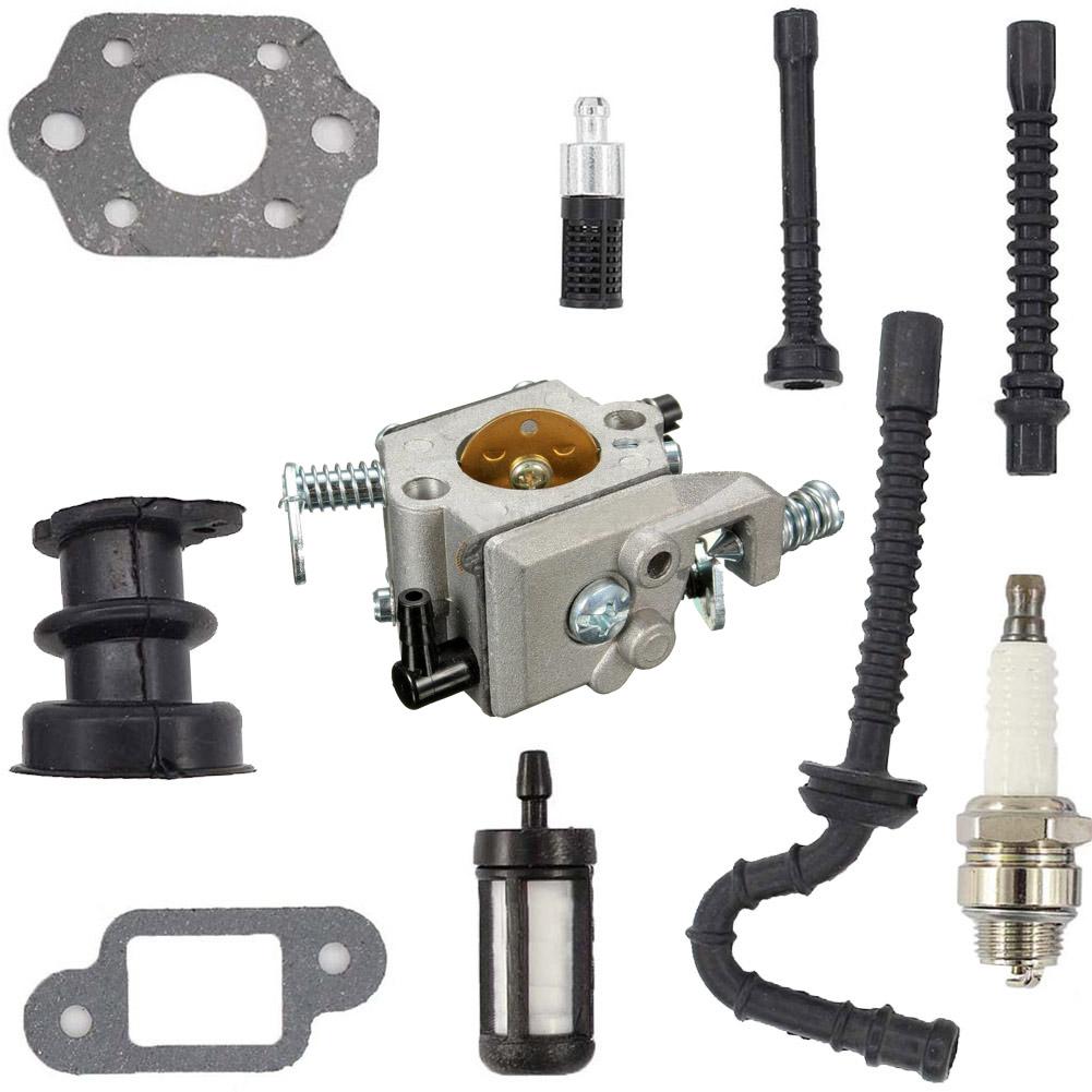 Carburetor 021 023 025 MS230 MS250 Carb Intake HoseSpark Kit No Primer Bulb