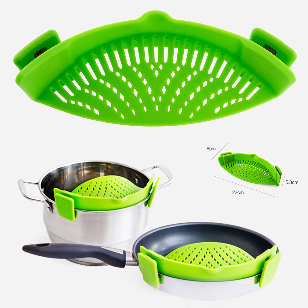 Multifunction Funnel Handsfree Clip-on Pot Bowl Wash Rice Colander Strainer