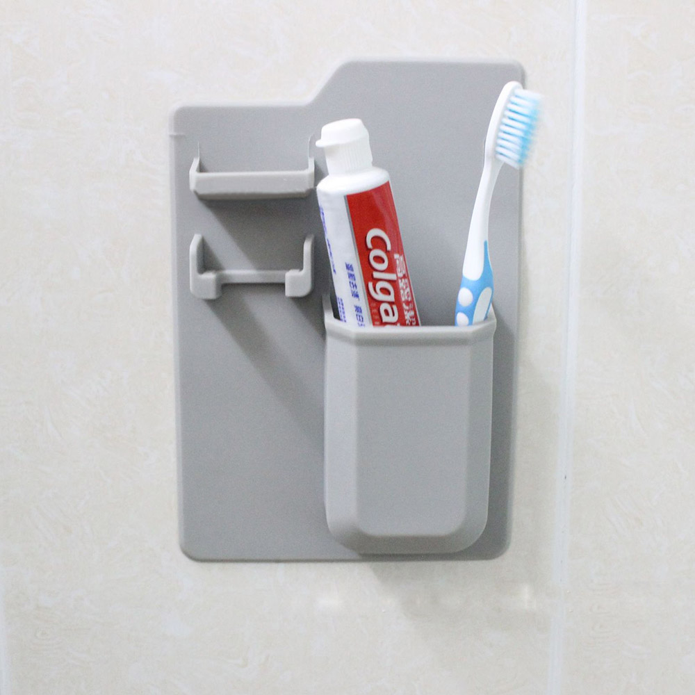 Eco-friendly Silicone Toothbrush Holder Organizer for Bathroom MirrorShower