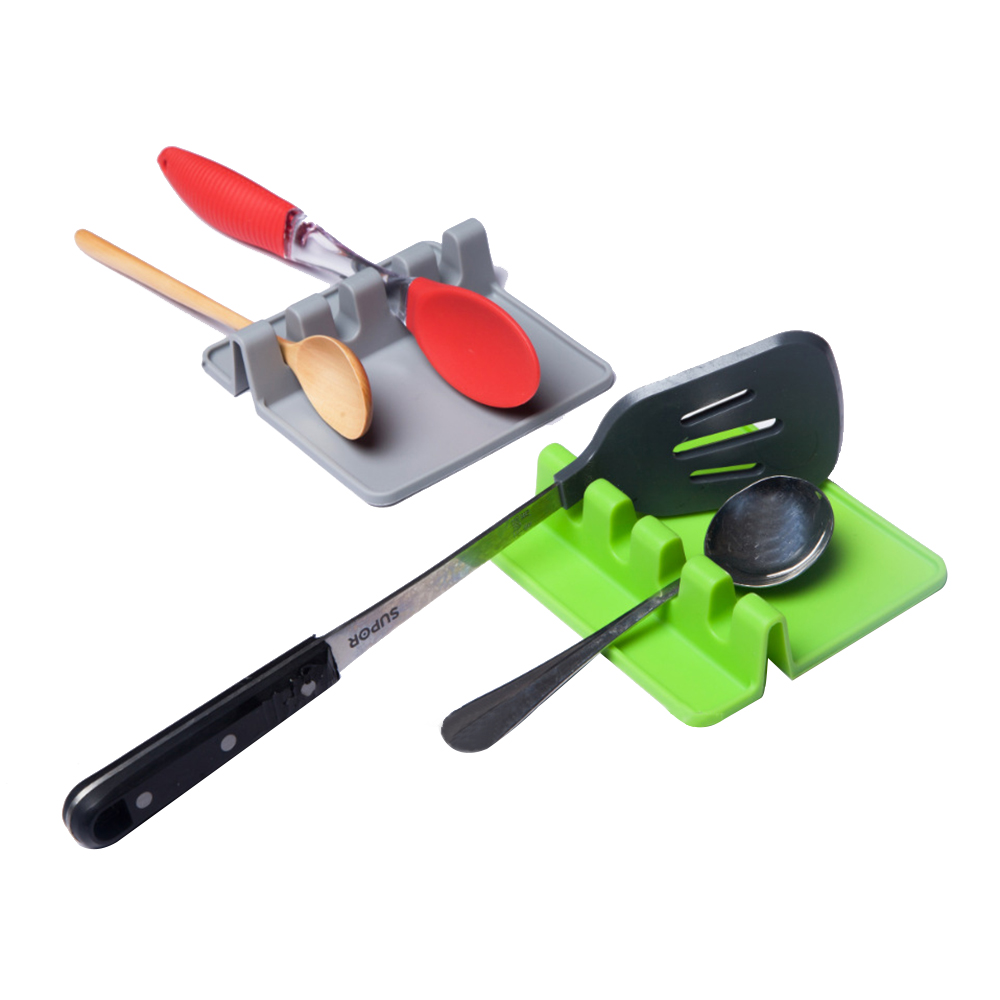 Heat Resistant Silicone Spoon Rest Cooking Utensil Spatula Holder Organizer