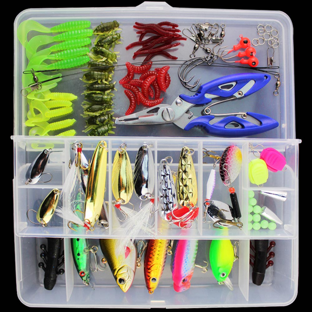 101pc/Set Fishing Accessory Minnow Popper Crankbait VIB Spinner Spoon
