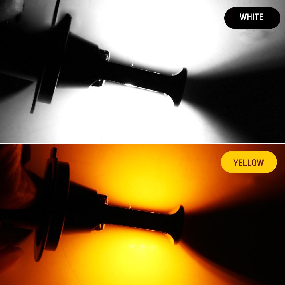 2pc Super Bright Dual Color COB H4 X5 40W LED Car Headlight Fog Light Lamp