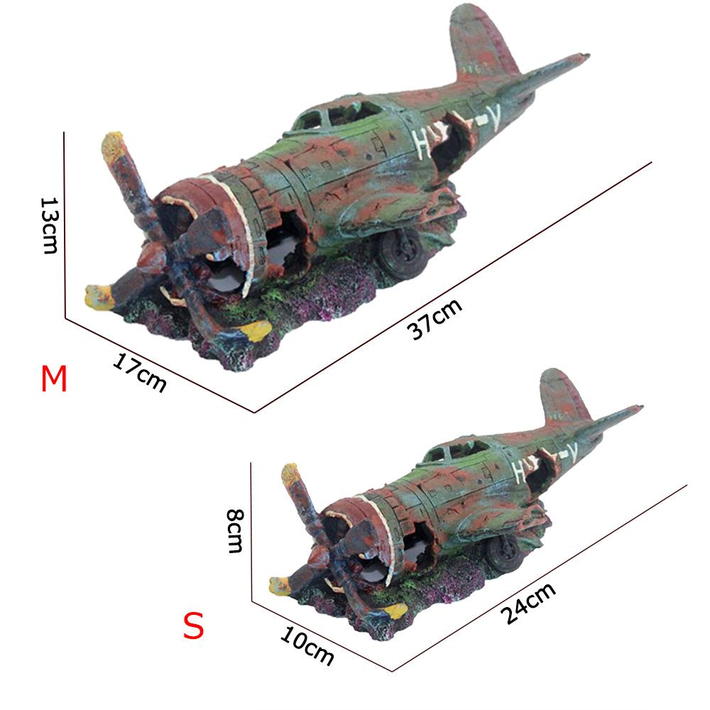 Resin Fish TankOrnament CaveAquarium Damaged Battleplane FighterPlane Decor