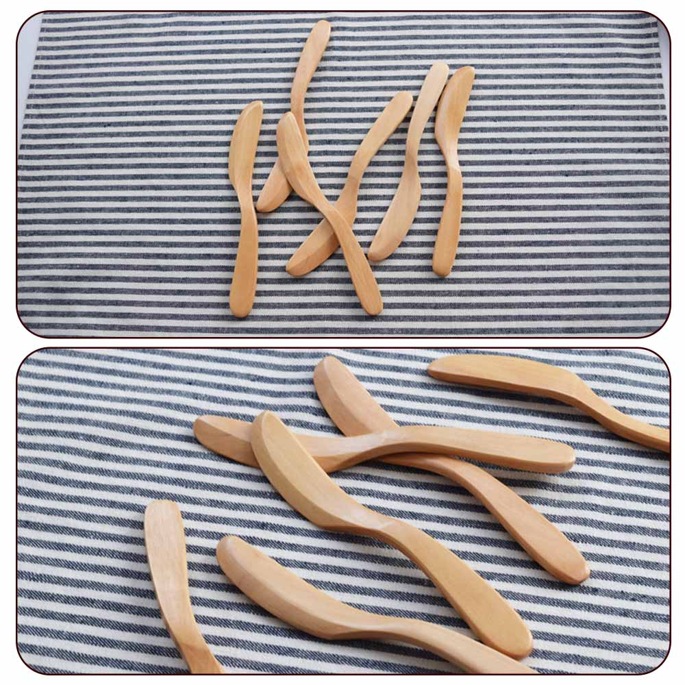 6pc Wooden Eco-friendly Reusable Butter Knife Cheese CakeSpreader Tableware