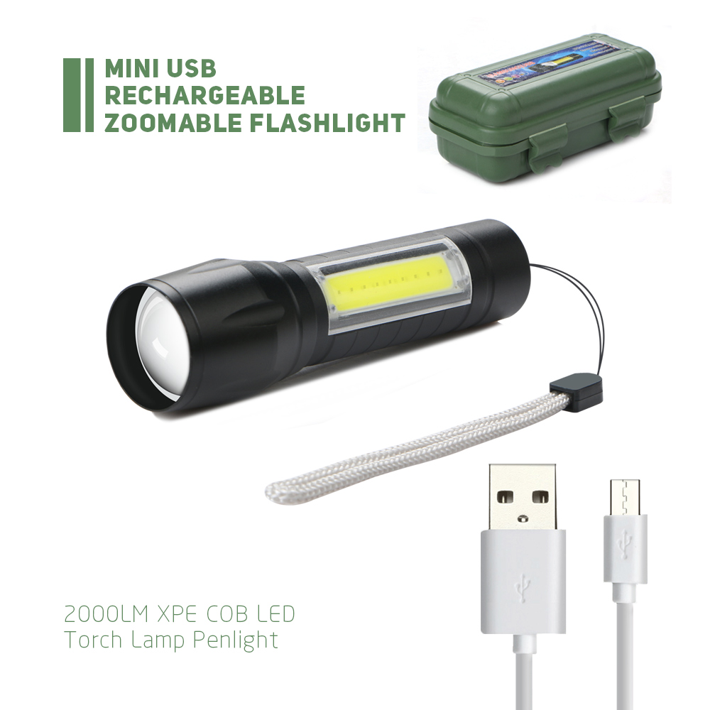 USB Rechargeable Zoomable Flashlight 2000LM XPE COB LED Torch Lamp Penlight