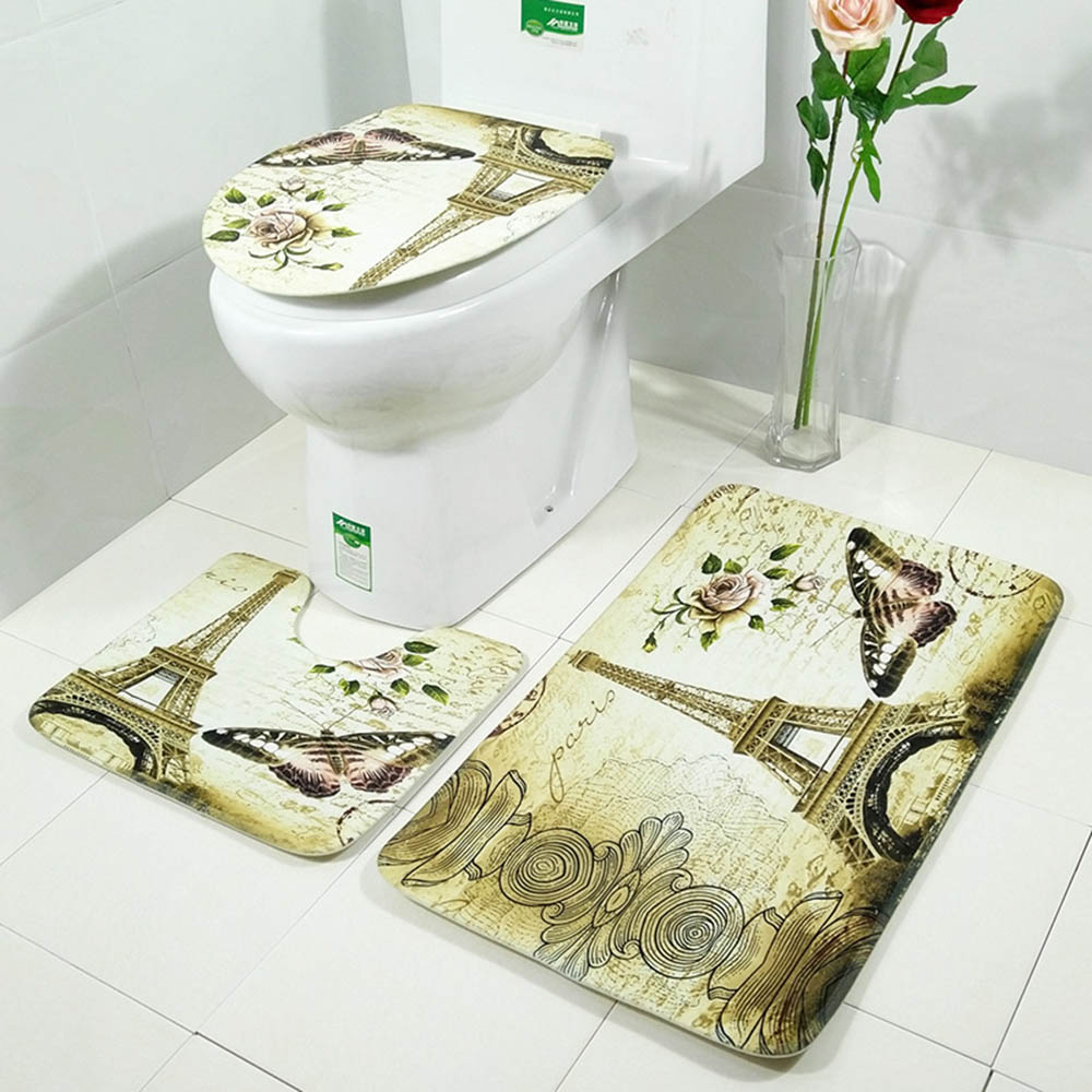 Shape Bathroom Toilet Non Slip Flannel Fleece Pedestal Rug Bath Mat Pad Carpet